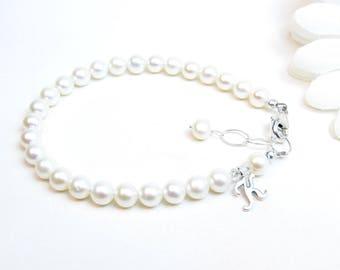 Ladies Personalized Real Pearl Bracelet - Pearl Initial Monogram Bracelet - Freshwater Pearl Bracelet - Custom Bridesmaid Gift - 5.5-6mm