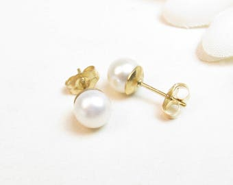 5.5-6mm Real Pearl Studs Earrings on Gold-Filled Posts - Small Pearl Stud Earrings - Petite Pearl Studs - Small Round Pearl Studs - Gold