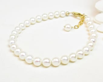 5.5-6mm Real Pearl Bracelet with Gold-Filled Clasp - Ivory Cream Off White Freshwater Pearl Bracelet - Classic Pearl Bracelet w/ Gold Clasp