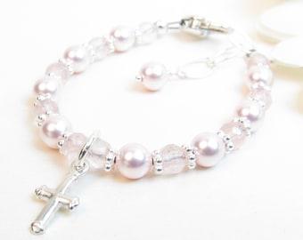 Pink Baby Girl Bracelet - Baptism or Christening Bracelet - Infant Baby Bracelet - Little Girl Jewelry - Girl Baptism Gift - Rose Quartz