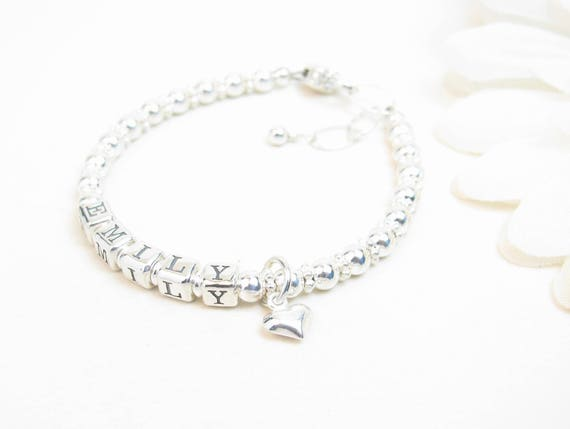 Sterling Silber Baby Name Armband Baby Mädchen Armband Taufe Oder Taufe Geschenk Mädchen Name Schmuck Personalisierte Perlen Namen Armband