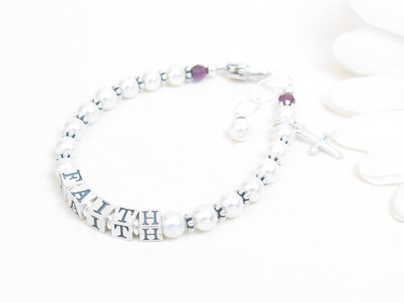 Personalised Engraved ANY NAME my first childrens girls baby charm bracelet gift