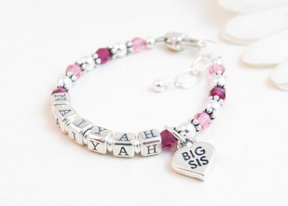 Big Sister Name Bracelet, Personalized Big Sister Gift, Big Sister Jewelry  with Two Birthstones, Gift from New Baby, Pregnancy Announcement