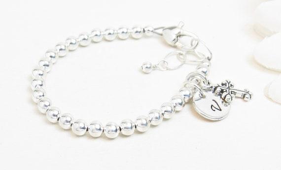 Sterling Silber Baby Kleinkind Baby Mädchen Armband Taufe Armband Mädchen Taufe Geschenk Personalisierte Armband Für Tween Oder Teenager