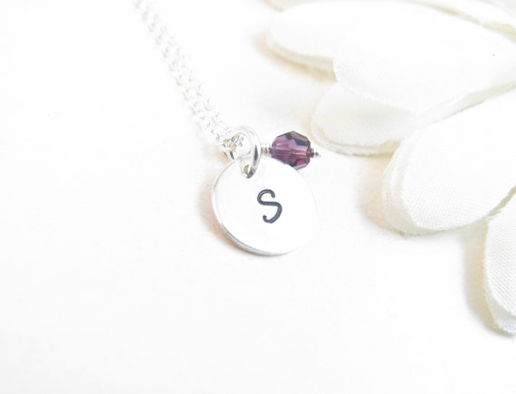 Sterling Silver Round Initial Charm Letter u Lower Case Hand Stamped Pendant with 16 Sterling Silver Bead Chain