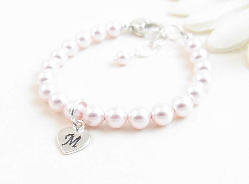 e3198efa8 Pink Pearl Baby Bracelet Baby Girl Bracelet Personalized | Etsy