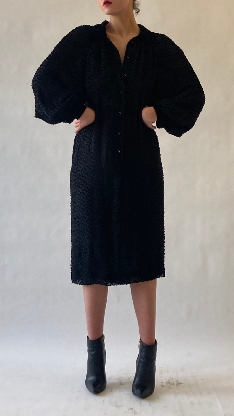 1980s Valentino Silk Swiss dot cut velvet dress