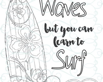 Adult Inspirational Coloring Page printable 03-Learn to Surf