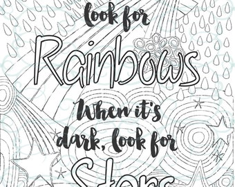 Adult Inspirational Coloring Page printable 02-Look for Rainbows