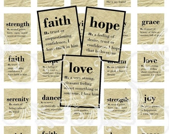 DICTIONARY Words digital collage sheet scrabble tiles