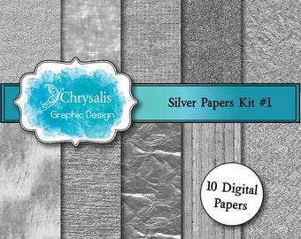 SILVER digital scrapbook papers kit #1 (set of 10)