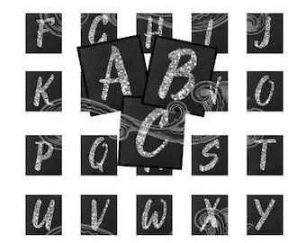 SILVER GLITTER chalkboard alphabet and more digital collage sheet scrabble tiles