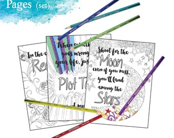 Adult Inspirational Coloring Pages printable Set of 16