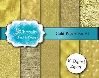 GOLD digital scrapbook papers kit #1 (set of 10)