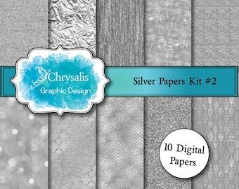 SILVER digital scrapbook papers kit #2 (set of 10)