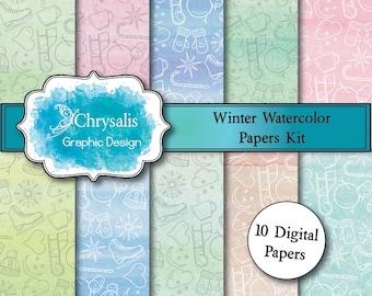 WINTER watercolor digital scrapbook papers (set of 10)