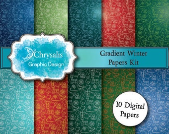WINTER gradient digital scrapbook papers (set of 10)