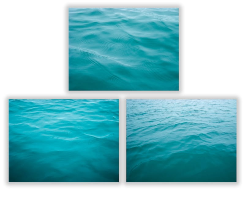 Set of 3 Ocean Water Photography Large Abstract Teal Blue Art image 0