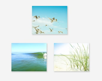 Coastal Print Set, Beach Decor, Teal Green and Blue, Seagulls, Water, Sand