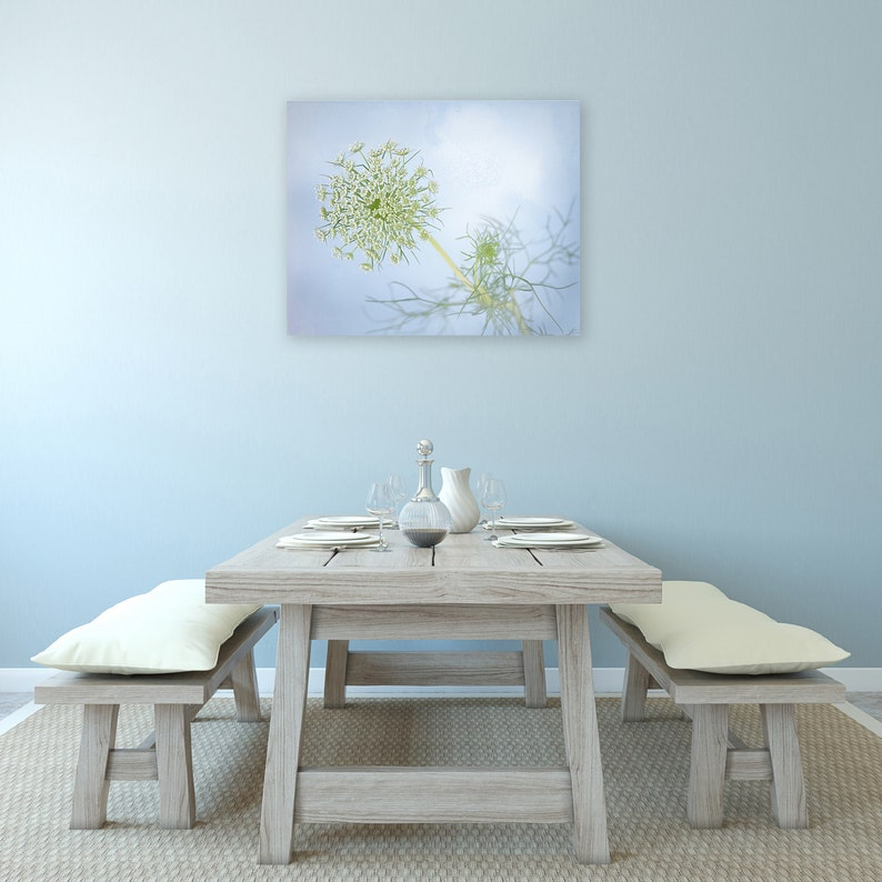 Light Blue Flower Photography Canvas Pastel Wall Art Queen image 0