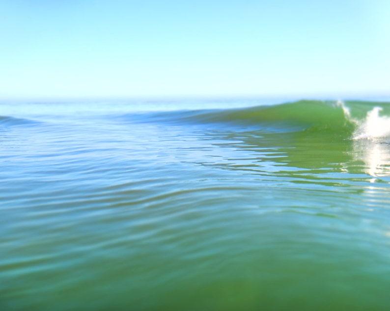 Beach Art Teal Blue Abstract Ocean Photograph Summer Surf image 0
