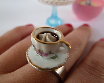 Cup of Coffee ring - alice in wonderland miniature cup ceramic white and gold adjustable ring ,fake cupcake frosting tea party