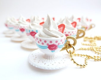 cup of coffee necklace Pendant alice in wonderland miniature cup