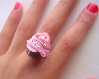 Cupcake Ring Strawberry fake cupcake sprinkled with sweet candy adjustable ring -  pink frosting- unique gifts for birthday ,holidays