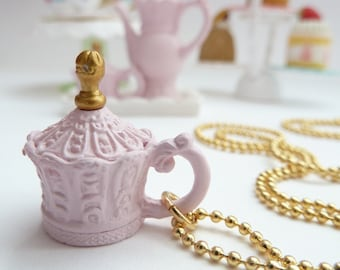 Antique princess cup necklace Pendant alice in wonderland miniature pink Charm - time for fairy tale tea party great jewelry for theme party