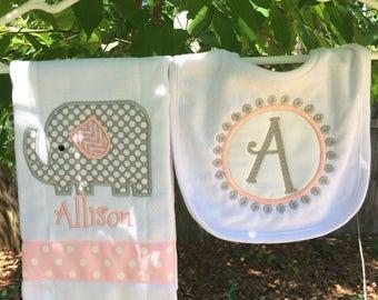 Personalized Baby Burp Cloth Bib Baby Elephant New Baby Shower Gift Monogrammed