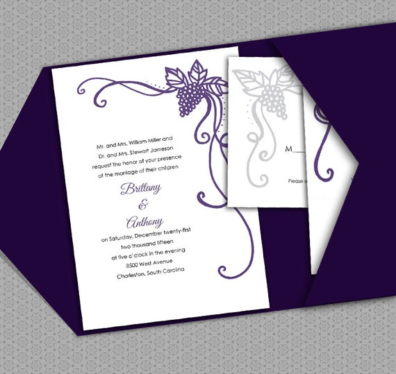 Printable Wedding Invitation Template DIY Vineyard Wine