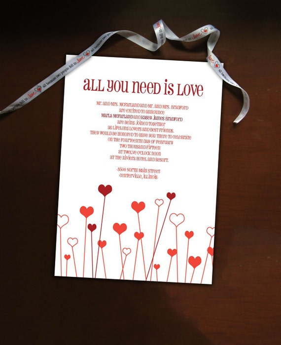DIY All You Need Is Love Wedding Invitation Suite