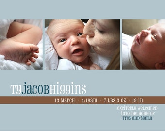 Printable Baby Announcement, blue thin stripe - Print at home