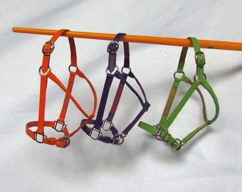 Leather Halters for Breyer Model Horses, Traditional (1:9) scale - Orange, Purple, Lime Green