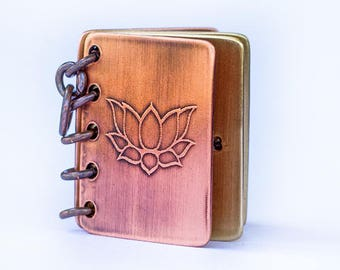 In A Gentle Way, You Can Shake The World, Book Pendant, Stamped Copper and Brass with Etched Cover, Can Be Customized
