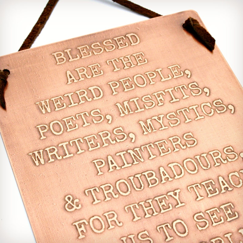 Blessed Are The Weird People Jacob Nordby Quote Etched Etsy