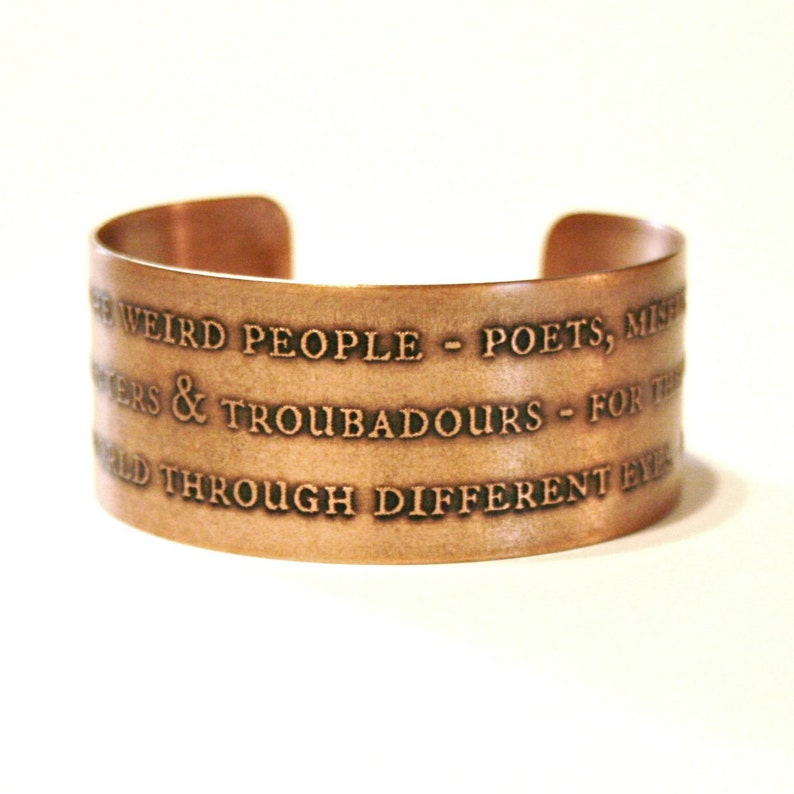 Etched Blessed Are The Weird People Cuff Solid 18 Gauge Etsy