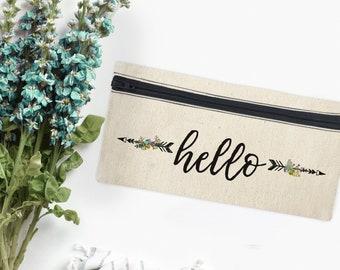 Canvas Brush Bag / Make Up Pouch / Brushes Bag / HELLO / Mini Cosmetic Bag / Brush Bag / Pencil Bag / Cosmetic Canvas Bag