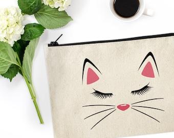 Cat Makeup Bag / Canvas Makeup Bag / Kitty Make Up Pouch / Canvas pouch / Cosmetic pouch / Cosmetic Bag / Cat Makeup Bag / Kitty Pouch
