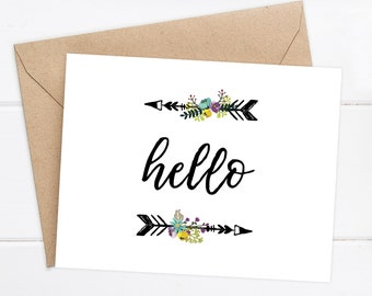 Hello Greeting Card / Thinking of you Card / Friend Card / Sister Card / Boyfriend Card  Husband Card / Girlfriend Card/ Love Card