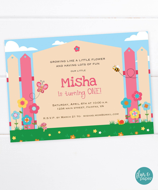 Garden birthday invitations spring garden party girl etsy zoom filmwisefo