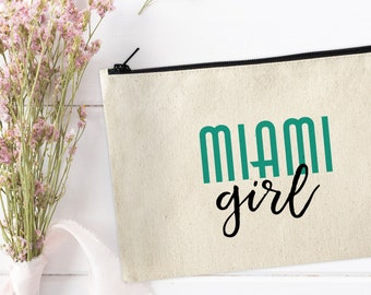 Miami Girl Makeup Bag / Miami Makeup Bag / Make Up Pouch / Canvas pouch / Cosmetic bag / Miami Gifts / Makeup Bag / Miami Girl Bag