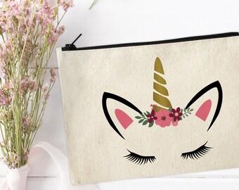Unicorn Makeup Bag / Canvas Makeup Bag / Unicorn Make Up Pouch / Canvas pouch / Cosmetic bag / Unicorn Makeup Bag / Unicorn Pouch