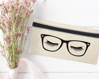 Glasses Canvas Pencil Bag - Eye Makeup bag - Brushes Bag - Eyelashes - Mini Cosmetic Bag - Makeup Organizer - Cosmetic Canvas Bag