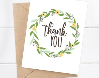 Thank You Card / Thank You Greeting Card / Thank You / Floral Thank you Card