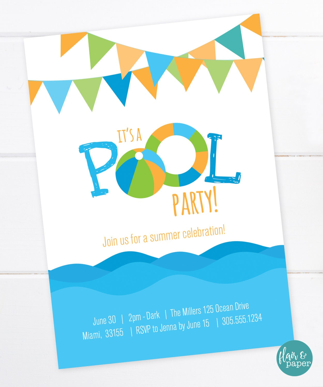 Pool Party Invitation Beach Party Summer Birthday Party | Etsy