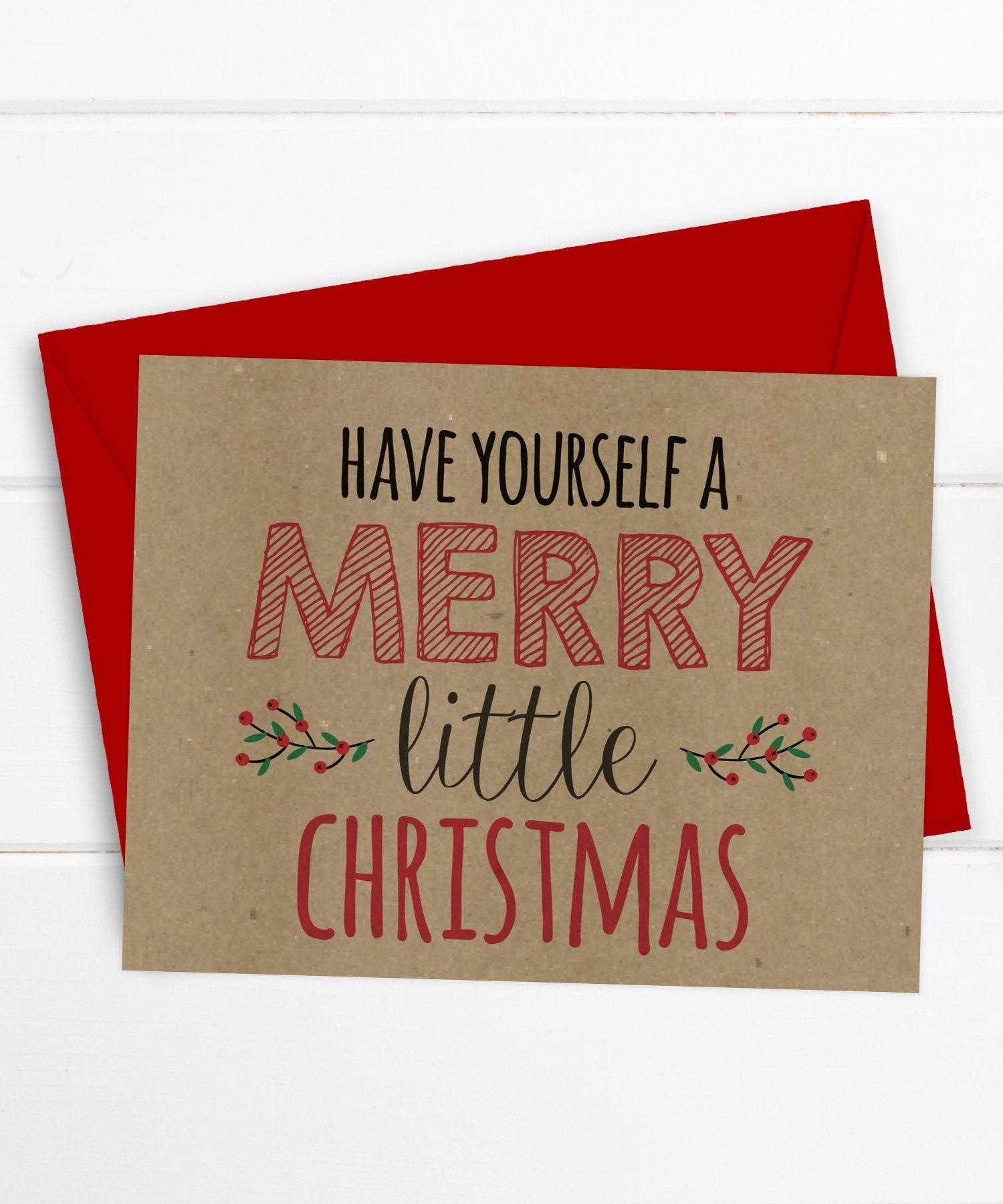 Christmas Card Holiday Card Merry Little Christmas   Etsy