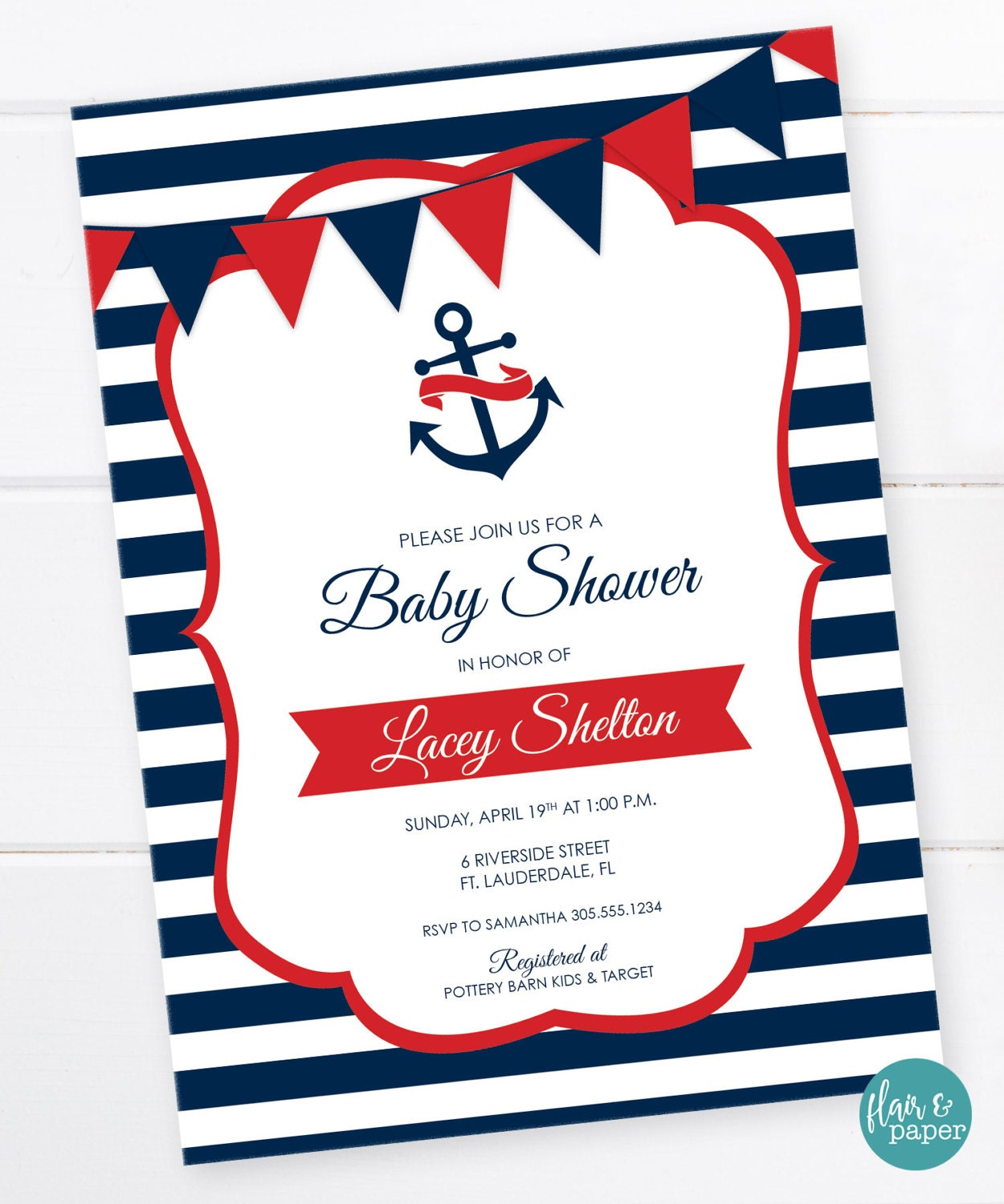Nautical Anchor Baby Shower Invitation Nautical Baby Shower | Etsy