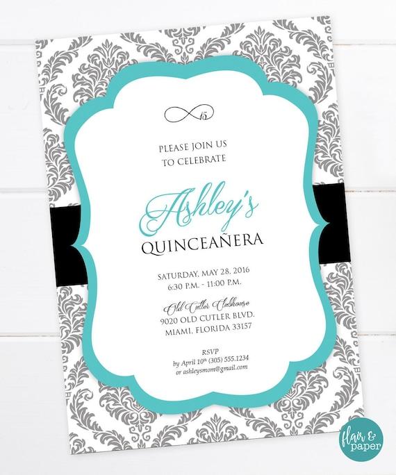 Quinceañera Invitation Birthday Invitation Sweet Sixteen | Etsy