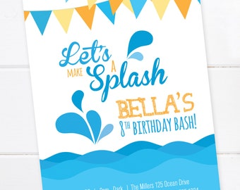 Pool Party Invitation, Beach Party, Summer Birthday Party, Pool Summer Party, Splash, Pool Birthday, Customized, DIGITAL PRINTABLE FILE